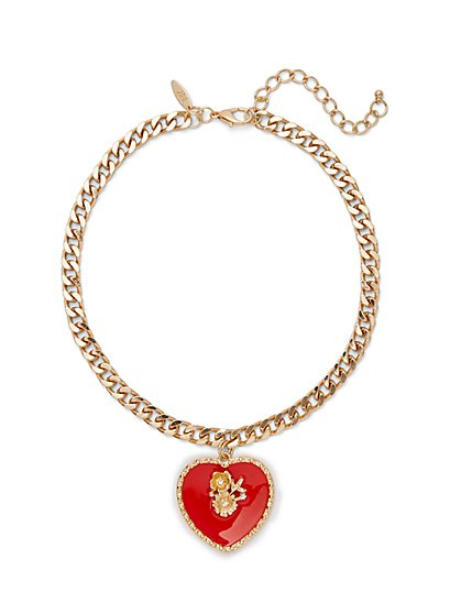 Goldtone Heart Pendant Necklace - New York & Company