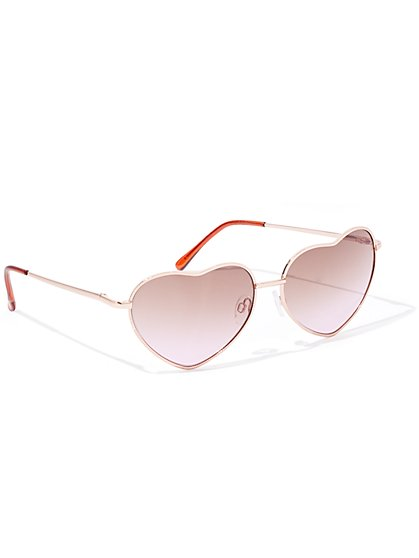Goldtone Heart-Shaped Aviator Sunglasses - New York & Company