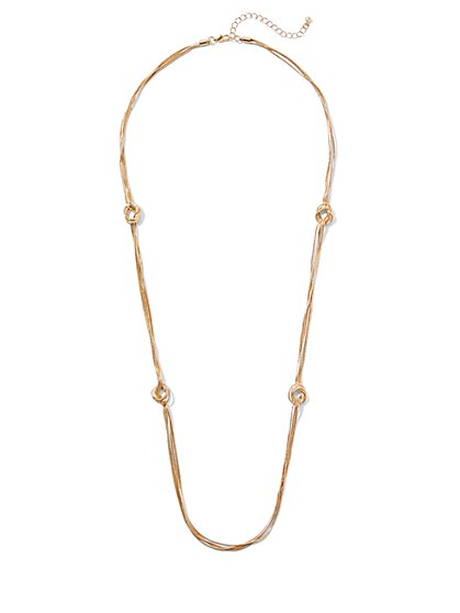 Goldtone Knot Station Necklace - New York & Company