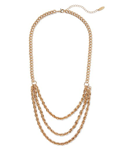 Goldtone Layered Chain-Link Necklace - New York & Company