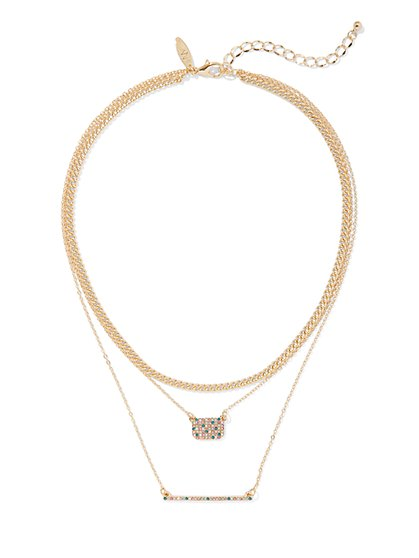 Goldtone Layered Pave Necklace - New York & Company