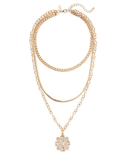 Goldtone Layered Pendant Necklace - New York & Company