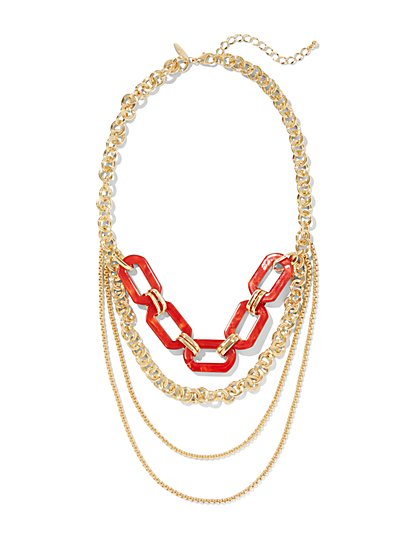 Goldtone Layered Statement Necklace - New York & Company