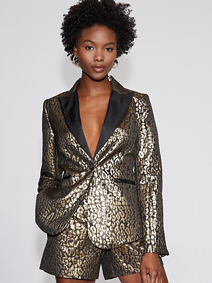 Goldtone Leopard-Print Blazer - Gabrielle Union Collection - New York & Company