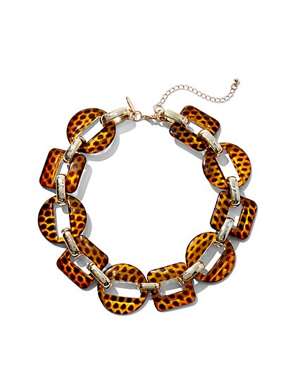 Goldtone Leopard-Print Link Necklace - New York & Company