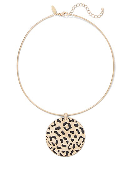 Goldtone Leopard-Print Pendant Collar Necklace - New York & Company
