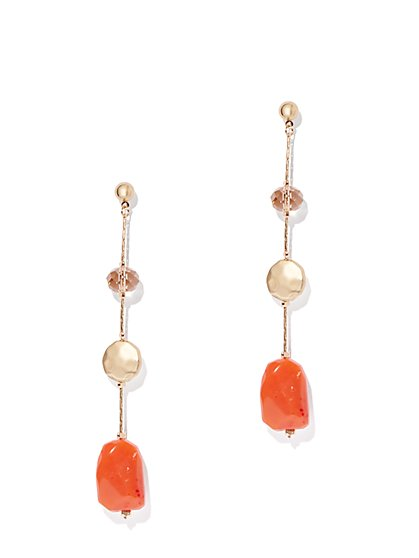 Goldtone Linear Faux-Coral Drop Earring - New York   Company 74bb977b353a