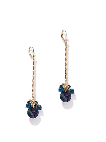 Goldtone Linear Floral Drop Earring - New York & Company