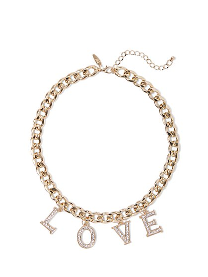 "Goldtone ""Love"" Chain-Link Collar Necklace - New York & Company"