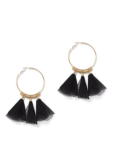 Goldtone Mesh-Accent Hoop Earring - New York & Company