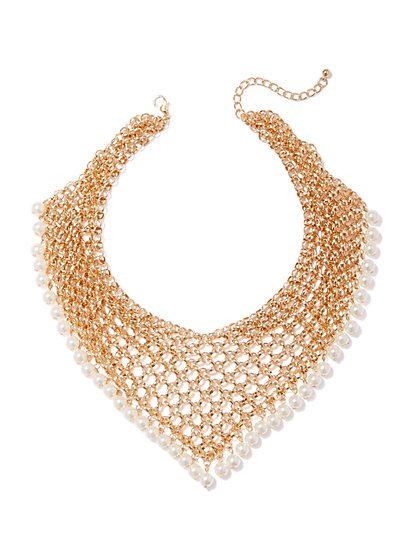 Goldtone Mesh & Faux-Pearl Collar Necklace - New York & Company