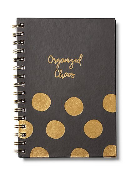 "Goldtone Metallic-Foil ""Organized Chaos"" Notebook - New York & Company"