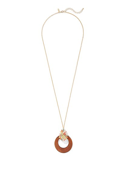 Goldtone Open-Circle Pendant Necklace - New York & Company