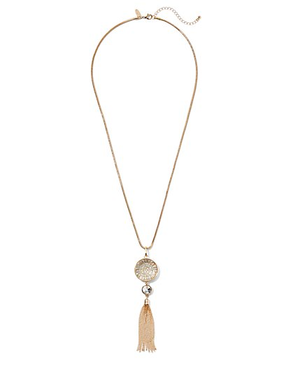 Goldtone Pave Disc & Tassel Pendant Necklace - New York & Company