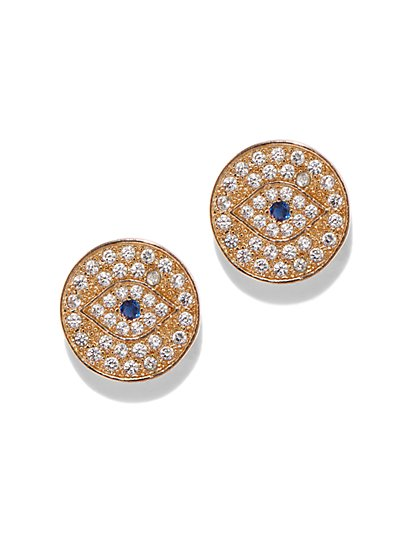 "Goldtone Pave ""Evil Eye"" Post Earring - New York & Company"