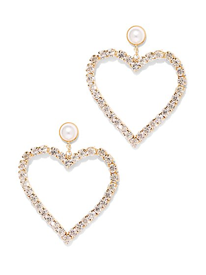 Goldtone Pave & Faux-Pearl Heart Drop Earring - New York & Company