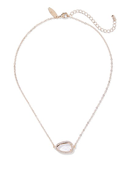 Goldtone Pave Faux-Stone Pendant Necklace - New York & Company