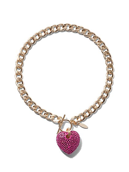 Goldtone Pave Heart Chain-Link Necklace - New York & Company