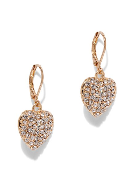 Goldtone Pave Heart Drop Earring - New York & Company