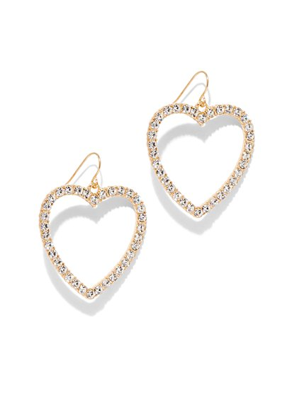 Goldtone Pave Heart Earring - New York & Company