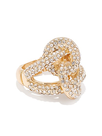 Goldtone Pave Knot Stretch Cocktail Ring - New York & Company
