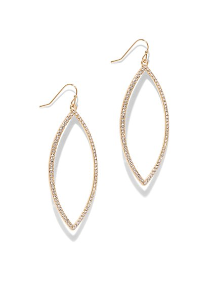 Goldtone Pave Oval Drop Earring - New York & Company