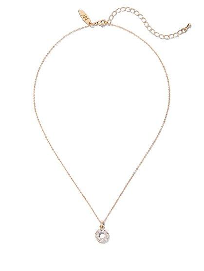 Goldtone Pave Pendant Necklace - New York & Company