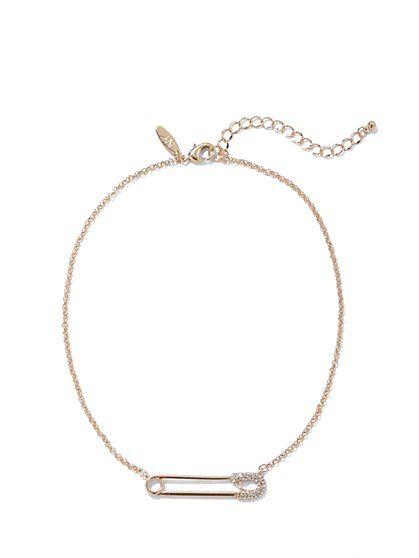 Goldtone Pave Safety Pin Necklace - New York & Company