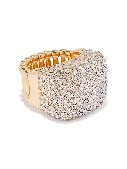 Goldtone Pave Stretch Cocktail Ring - New York & Company