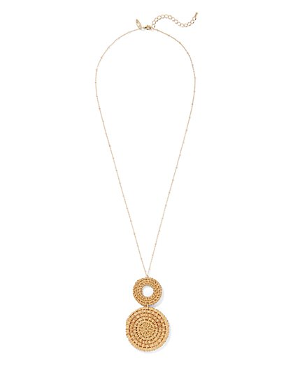 Goldtone Raffia Pendant Necklace - New York & Company