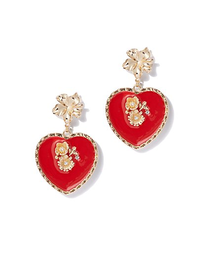 2aa86fd71 Goldtone Red Heart Drop Earring - New York & Company ...
