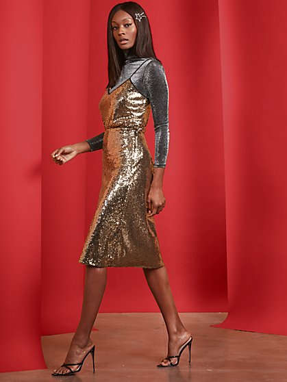 Goldtone Sequin Midi Skirt - New York & Company