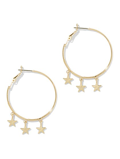 Goldtone Star Hoop Earring - New York & Company