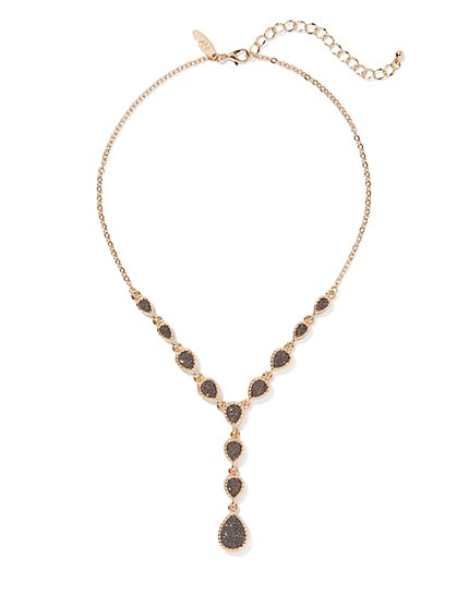 Goldtone Station Y Necklace - New York & Company
