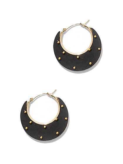 Goldtone Studded Hoop Earring - New York & Company