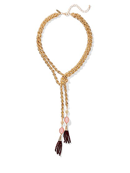 Goldtone Tassel-Accent Lariat Necklace - New York & Company