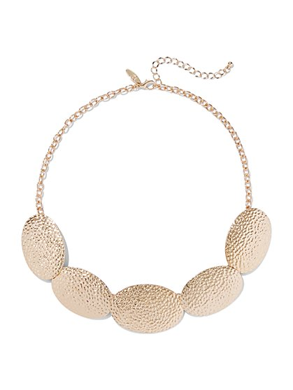 Goldtone Textured Statement Necklace - New York & Company