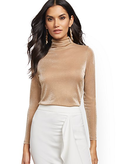 Goldtone Turtleneck Top - New York & Company