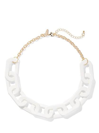 Goldtone White Chain-Link Collar Necklace - New York & Company