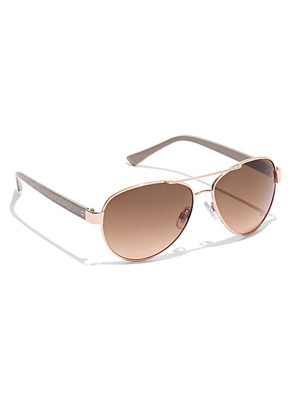 Gradated Lens Aviator Sunglasses - New York & Company