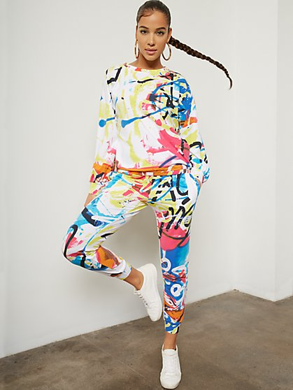 Graffiti Drawstring Jogger Pant - New York & Company