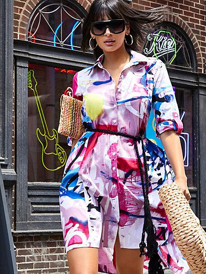 Graffiti Print Belted Poplin Shirt Dress - New York & Company