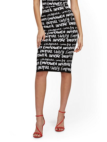 Graffiti-Print Sweater Skirt - 7th Avenue - New York & Company