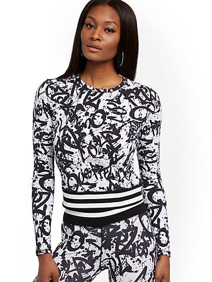 Graffiti-Print Top - Soho Street - New York & Company