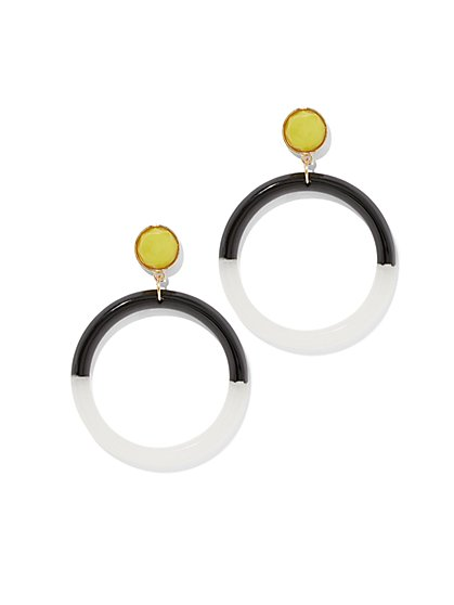 Graphic Hoop Drop Earring - New York & Company