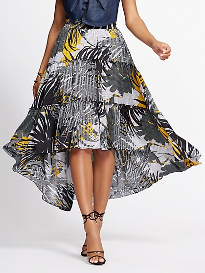 Graphic-Print Hi-Lo Tiered Skirt - Gabrielle Union Collection - New York & Company