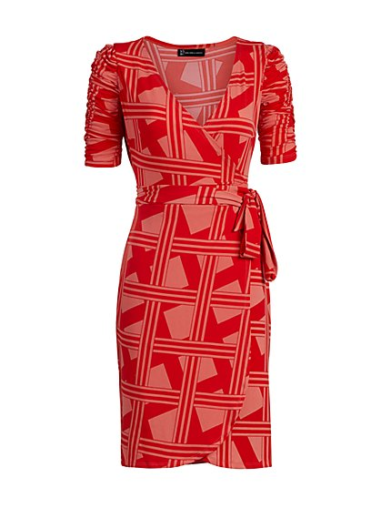 Graphic-Print Knit Wrap Dress - New York & Company