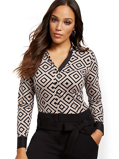 Graphic-Print Madison Stretch Shirt - Secret Snap - New York & Company