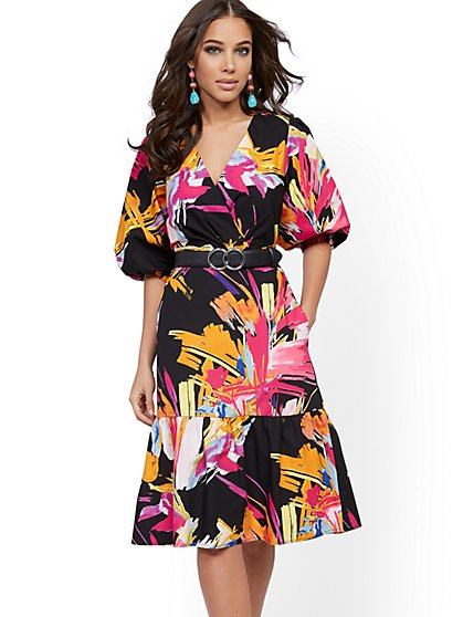 Graphic-Print Poplin Puff-Sleeve Wrap Dress - New York & Company