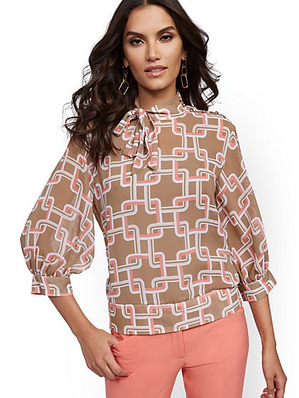 Graphic-Print Tie-Front Blouse - 7th Avenue - New York & Company